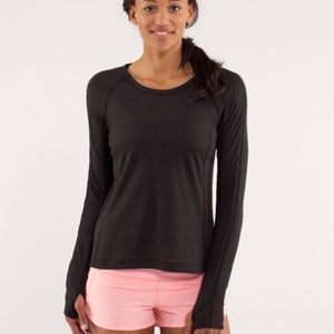 Lululemon Black and Gold Striped Long Sleeve Top